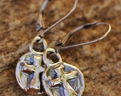 Signature Sterling Silver Round Cross Earrings