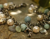 Signature Sterling Silver SeaShells and Gemstone Bracelet