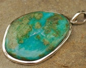 Handcrafted Incredible Blue Peruvian Opal Pendant  in Sterling Silver