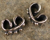 Six Artisan Dotted Wrap Link Connectors in Sterling Silver