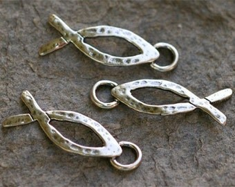 Two Christian Fish Charms in Sterling Silver