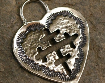 Southwest  Cross Cut Out of Heart Sterling Silver Pendant