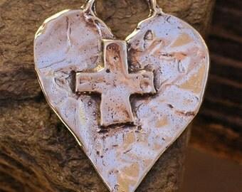Trust in GOD Heart Pendant in Sterling Silver
