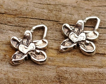 Two Flower Charms w Heart in Sterling Silver