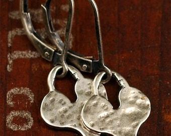 Organic Artisan Sterling Silver Hammered HEART Charm Earrings