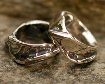 Two Mini Rippled Sterling Silver Slider Beads
