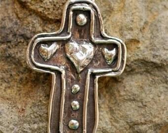 Artisan Heart on a Cross, Sterling Silver Cross Pendant