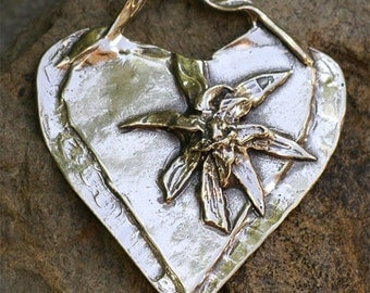 Artisan HEART with Flower in Sterling Silver Pendant -Never Give In
