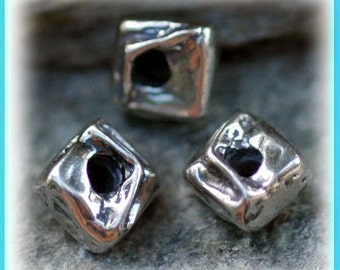 Rippled Square Sterling Silver Beads, 109p