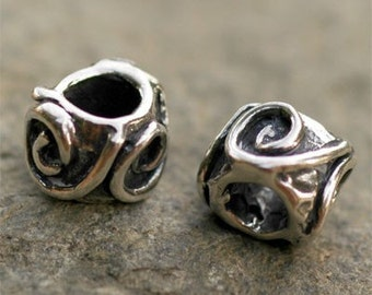 Artisan Sterling Silver Beads, Scrolling Spiral Adorned Beads