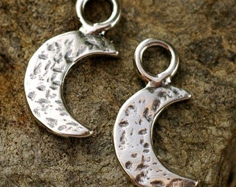 Artisan Moon Charms in Sterling Silver, Two Hammered Moons