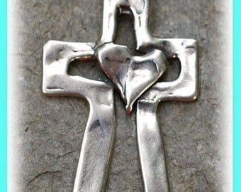 Sterling Silver Cross Pendant, Heart on a Cross Pendant, -144