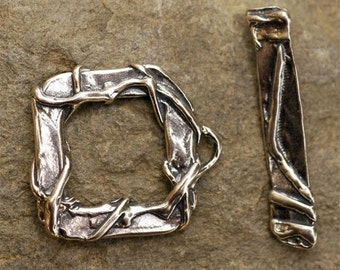 Big Clasp Sterling Silver Wrapped Square Toggle Was 27.78
