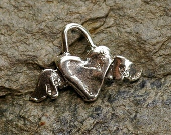Rustic Sterling Silver Flying Heart Charm