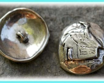 Rustic Artisan Sterling Silver Cabin Button Clasp