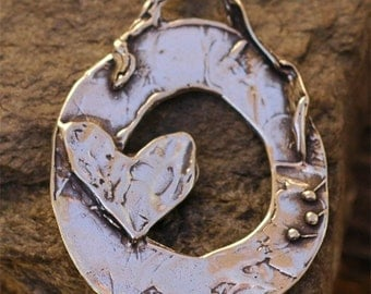 Work Hard and Pray Hard Pendant with Heart in Sterling Silver
