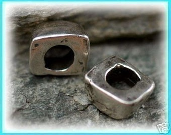 One Sliced Square Sterling Silver Beads
