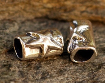Two Sterling Silver Little Tube Beads with a Star