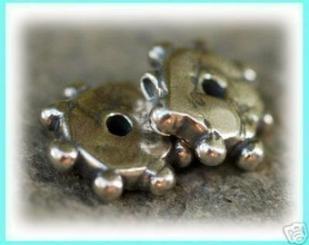 Two Daisy Spacer Sterling Silver Beads, Dotted Artisan Beads