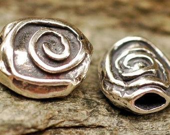 One Artisan Spiral Sterling Silver Bead, Oval Shaped Bead, Swirly Bead