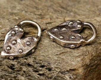 Dotted Heart Charm in Sterling Silver