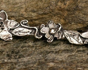 Flower Bar Link in Sterling Silver