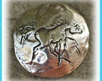Silly Horse Button Clasp in Sterling Silver