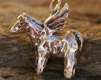 Rustic Artisan Winged HORSE in Sterling Silver