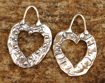 Two Artisan Cut Out Heart Charms in Sterling Silver -107s