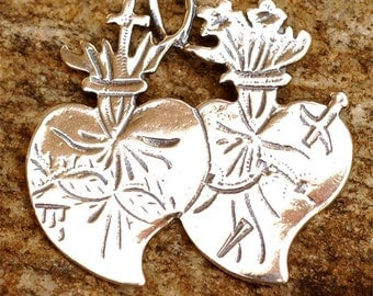 Twin Hearts Pendant or Link in Sterling Silver -111s