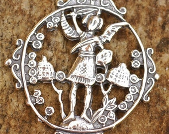 Archangel Michael Pendant  in Sterling Silver, AR110