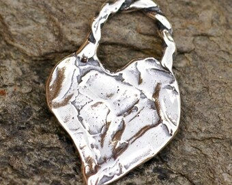 Artisan Heart Charm in Sterling Silver