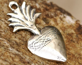 Artisan Flaming Heart Milagro in Sterling Silver