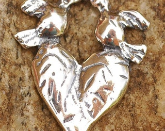 Heart with Two Doves Pendant or Link in Sterling Silver AD-112