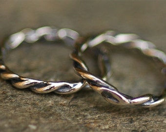 Two Artisan Skinny Twisted Links in Sterling Silver L-142