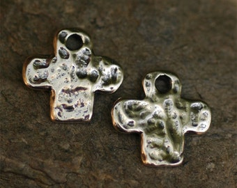 One Rustic Cross Charm in Sterling Silver, AD129