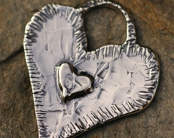 Big Heart inscribed Live Your Life with Joy in Sterling Silver, H-192
