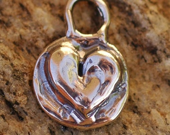 Heart on Round Background Charm in Sterling Silver, CH-172