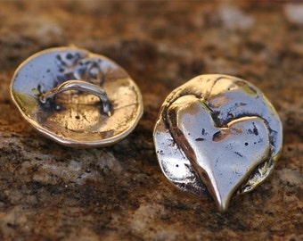 Sterling Silver Whimsical HEART Button Clasp