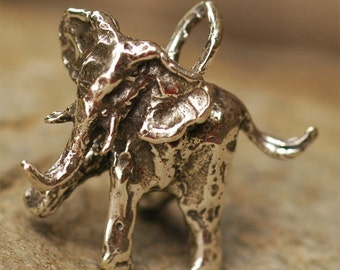 Artisan Elephant Trunk Up Sterling Silver Charm