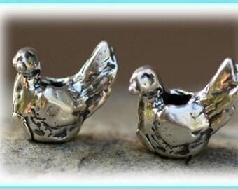 Artisan Bird Bead in  Sterling Silver