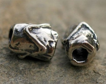 Artisan Zig Zag Cheveron Sterling Silver Tube Bead