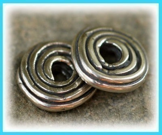 ONE Handcrafted Artisan GROOVY Spacer Sterling Silver Beads