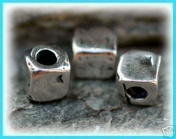 Set of 6- Artisan Sterling Silver TEXTURED CUBE Beads