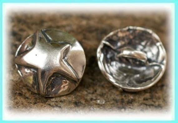 Sterling Silver Button Adorned with a Cowgirl Star