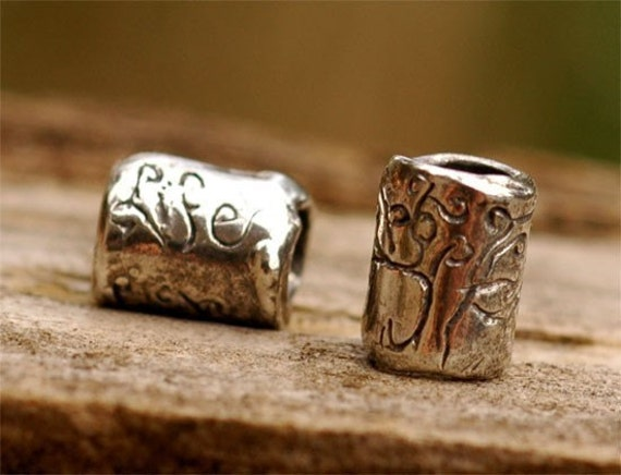 TWO Rustic TREE of LIFE Beads Artisan Handcrafted Sterling Silver