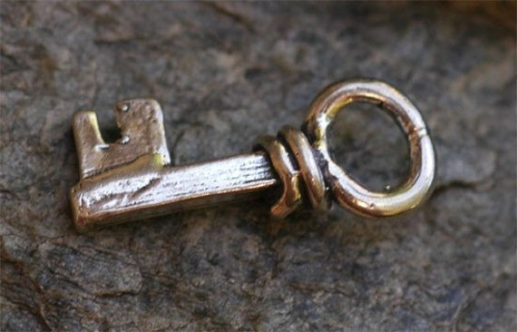 Key Charm Artisan Handcrafted Little Key in Sterling Silver