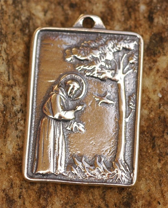 Snap saint francis etsy photos on pinterest saint francis of assisi pendant or big charm in sterling aloadofball Choice Image