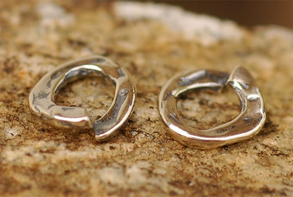 TWO Thick Small Jump Ring Links in Sterling Silver, AD167s