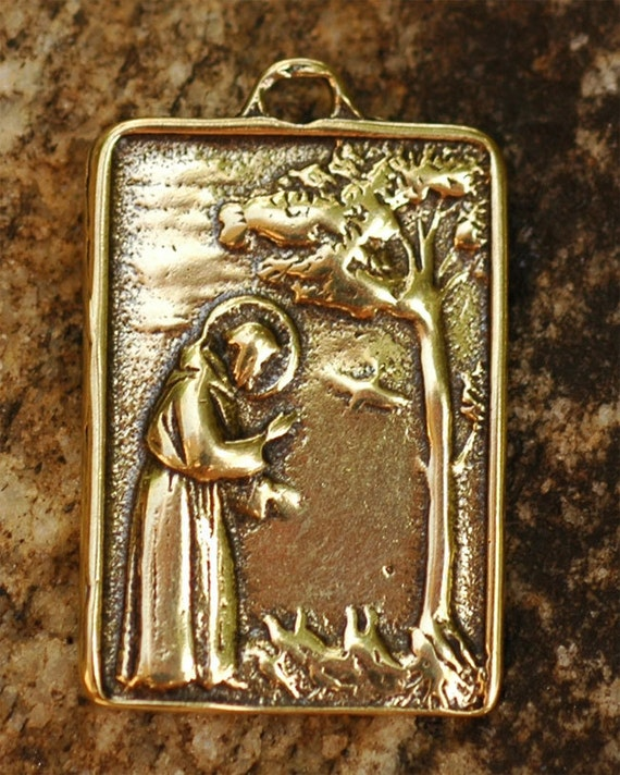 Saint Francis of Assisi Pendant or Big Charm in Gold Bronze -114yb